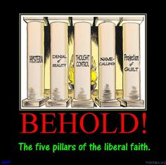 BEHOLD: THE FIVE PILLARS OF THE LIBERAL FAITH! HYSTERIA, DENIAL OF REALITY, THOUGHT CONTROL, NAME-CALLING, .........