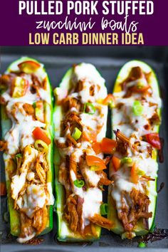 These pulled pork stuffed zucchini boats are a lower carb freezer-friendly lunch or dinner! Zucchinis are filled with pulled pork, smothered with cheese, and topped with fresh tomatoes. Veggie Meal Prep, Chicken Meal Prep, Meal Prep Bowls, Healthy Meal Prep, Healthy Recipes, Vegetable Meals, Healthy Food, Healthy Dinners, Raw Food