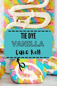 This Tie Dye Vanilla Cake Roll is a sweet, rich, and decadent roll cake filled with homemade buttercream frosting. Perfect for parties! #cakeroll #rainbowcake Colorful Desserts, Fun Desserts, Things That Go Together, Homemade Buttercream Frosting, Caking It Up, Box Cake Mix, White Cake Mixes, Moist Cakes, Barbecue Recipes