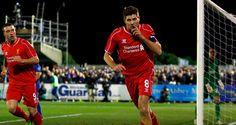 Steven Gerrard celebrates the opening goal #Gerrard #captain #Liverpool #reds #Anfield #ynwa #FaCup #Wembley #legend