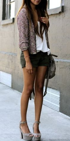 Sincerely Jules - that sequins blazer, green casual shorts, white loose tee, leather handbag and grey high heels booties