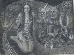 """Sophy Gray junto a seres del Mundo Subterráneo (de """"Alicia Bajo Tierra de Pesadillas"""").   Se trata de un proyecto donde ilustro y escribo una novela de fantasía y misterio, realizando una reinterpretación oscura de Alicia en el País de las Maravillas. Subo un capítulo semanalmente. Puedes adentrarte en la madriguera del Conejo Blanco en esta dirección  https://aliceundergroundofnightmares.blogspot.com.es/"""