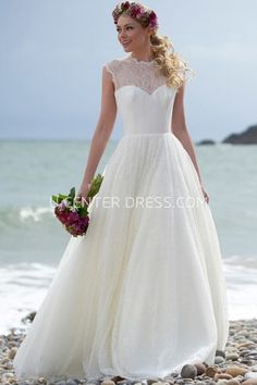 High Neck Floor Length Lace Wedding Dress With Illusion Strapless DressesWedding