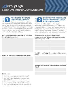 Influencer Identification Worksheet via GroupHigh