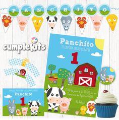 Kit imprimible de cumpleaños Animales de Granja. Invitación imprimible. Decoración de fiesta. Personalizado. Listo para imprimir. de CumpleKits en Etsy