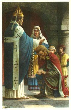 Le sacre de Pépin le Bref par le pape.