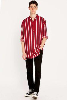 Urban Renewal Vintage Re-Made Wine and White Stripe Summer Shirt