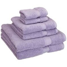 6-Piece Egyptian Cotton Towel Set in Light Purple