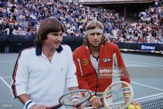 American tennis player Jimmy Connors (left) and Swedish tennis player Bjorn Borg…