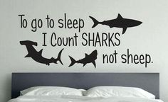 Shark Room Decor To go to sleep I Count Sharks not sheep. This would be a cute saying above the bed on a piece of wood.