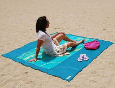 TRAVEL WANNAHAVE: Calling all beach lovers!  Sandless Beach Mats is a revolutionary beach accessory that's literally impossible to cover with sand.  Initially intended for military uses, this clever sand-free ground sheet is perfect for a fun and stress free beach outing. Finally, no more annoying sticky sand! Now you can make the most of your seaside experience while lounging in the warm sunshine, reading a book, or spreading out a picnic.