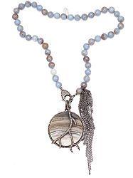 Diamond Crystalized Agate Diamond Branch Necklace