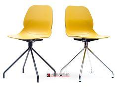 Nowoczesne krzesło na trójnogu LEAF DSR musztardowe. - Mebel-Partner.pl