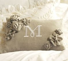 The Decorated House: ~ Valentine's Day Pillow in Neutrals with Fabric Flowers