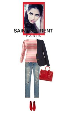 """""""Saint Laurent Original Low Waisted Skinny Jeans"""" by bodangela ❤ liked on Polyvore featuring Yves Saint Laurent"""