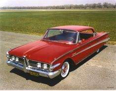 """Rather late in the program, after styling for the '60 model had been approved, Ford Chairman Ernest Breech toured the Edsel Studio and saw the prototype. He walked around it several times before declaring his disapproval of the front end styling. """"Make it look more like a Pontiac"""" he was heard to say, and so the """"Impact Bar"""" grille was out and a grille similar to the then current '59 Pontiac was in. These clays, showing the revised front grille, were created for management approval."""