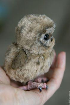 Купить Совёнок Ухху - коричневый, сова игрушка, совенок, клюв, коготь, авторская игрушка, тедди