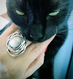 I love this image of my black cat Rio. The ring in the picture is from Ibero.