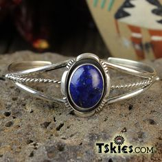 Elegant Deep Lapis Silver Shank Bracelet by Leander Nezzie - Turquoise Skies https://tskies.com/product-category/shop-by-gemstone/lapis/