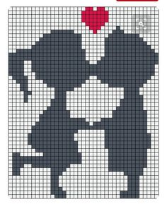 Diy Crafts - Kiss love perler bead pattern, I wouldn't have their faces touching, looks weird, maybe 1 square for noses and shorten other lines Alpha Patterns, Loom Patterns, Beading Patterns, Beaded Cross Stitch, Cross Stitch Embroidery, Cross Stitch Patterns, Pixel Crochet, Crochet Chart, Knitting Charts