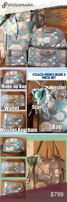 """Coach Audrey Blue Green Purse Wallet Gesso Set 6 Piece Super Rare Gesso Set!  The set comes with the purse, accordion wallet, large wristlet, Keychain wristlet, scarf, and the make-up bag.  It is near impossible to find one of these accessory pieces, nonetheless all of them!  Chance may not come around for many years to come.  Gorgeous Set!  Also, check out my """"about"""" and follow the link. Coach Bags Shoulder Bags"""