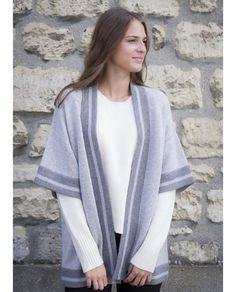 Kimono en cachemire bicolore gris - 100% cachemire.  acanthe  acantheparis   acanthecachemire d586fe8cf7c