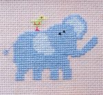 blue elephant and a little bird