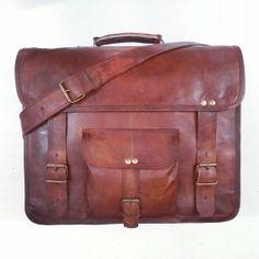 Briefcase leather vintage distressed