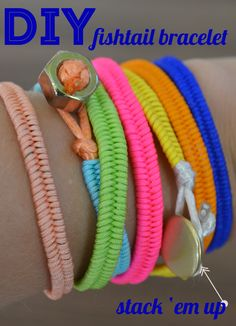 DIY Fishtail Bracelets using Chinese Knotting Cord Cute Crafts, Crafts To Do, Diy Crafts, Fishtail Bracelet, Diy Collier, Do It Yourself Jewelry, Camping Crafts, Bijoux Diy, Crafty Craft