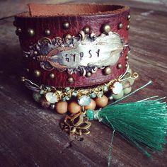 Gypsy Soul Leather Cuff Bracelet Feather Cuff by bohemiansoulshine