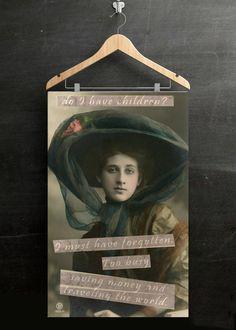 Feminist Art, Framed Travel Decor, Forgot to Have Kids, Woman Traveler, Feminist Poster, Vintage Victorian Photo, Childfree, World Traveler
