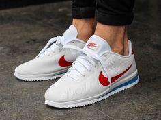 Découvrez une nouvelle déclinaison de la Nike Cortez, une version à l'empeigne perforée blanche et avec un Swoosh rouge (été 2016).