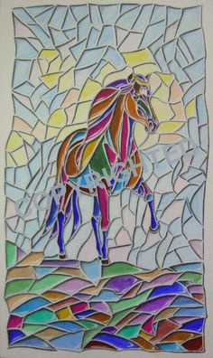 how to paint horses glass painting | ... pencil drawn to look like a stained glass window with a horse in it