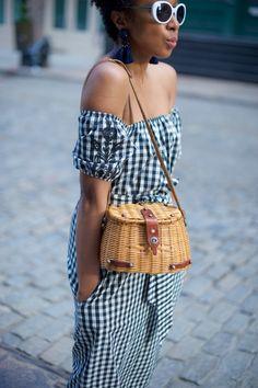 off the shoulder gingham dress with a vintage straw bag