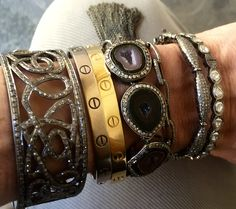 Stack it up! Silver Bracelets, Bangles, Gems, Diy, Jewelry, Fashion, Jewels, Silver Cuff Bracelets, Bracelets