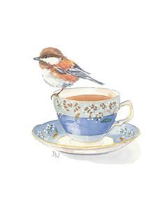 Bird Watercolour Teacup Painting Chickadee Art by WaterInMyPaint, $49.00