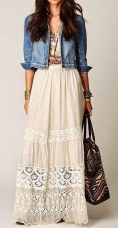 summer outfits Denim Jacket + Boho Maxi Dress