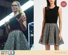 Felicity's black dress with leopard print skirt on Arrow. Outfit Details: http://wornontv.net/21397 #Arrow