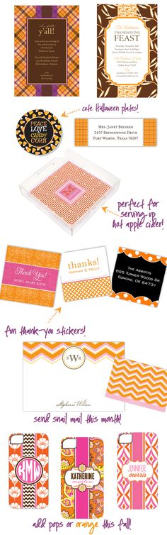 Fun invitations, stationery,   gifts for Fall! on http://pizzazzerie.com