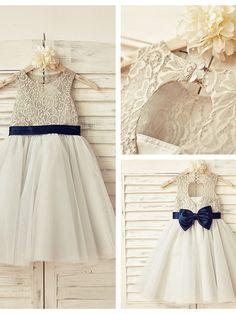 A-line Knee-length Flower Girl Dress - Lace / Tulle Sleeveless - USD $49.99