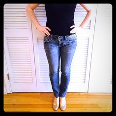 """Vigoss Skinny Jeans 'New York Skinny' jeans. Size 9/10 or 30. Zipper closure with button snap. Slim leg with wear on front pockets and back pockets as part of design. 98% cotton and 2% spandex. 29"""" inseam. Worn a few times, but in great shape! Vigoss Jeans Skinny"""