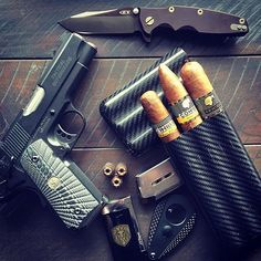 CigarsandGuns — Every Monday should look like this Tactical Equipment, Tactical Gear, Bushcraft, Everyday Carry Gear, Shooting Gear, Tac Gear, Cigars And Whiskey, Kydex, Black Ops