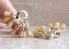 Beige Moonglow Earrings Thermoset Clip On Charel Signed Gold Tone Vintage