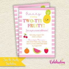 Two-tti Fruity Birthday Party Invitation / Tutti Fruitti| by Celebration Lane