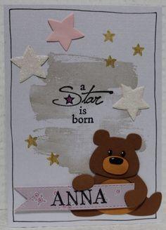 Gemaakt door Joke # Babykaart met beertje, Anna geboren