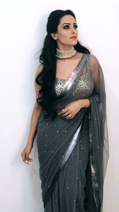 Here we have for you 15 of the most stylish Blouse Designs and saree from the stylish star Anita Hassanandani wardrobe that'll make your jaw drop. Trendy Sarees, Stylish Sarees, Fancy Sarees, Saree Blouse Patterns, Sari Blouse Designs, Shagun Blouse Designs, Indian Dresses, Indian Outfits, Indian Saris