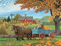 Illustration/Painting by John Sloane Arte Country, Autumn Scenes, Farm Art, Illustration Art, Illustrations, Country Scenes, Fall Pictures, Autumn Art, Naive Art