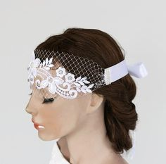 Weddings Head Piece White Lace Hair Fascinator by MammaMiaBridal