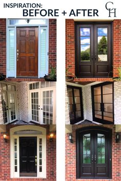 Customize your front or patio entrance with a Clark Hall exterior door. From modern to traditional, our custom made iron doors transform the design of any home. Check out our inspiration page for before and after photos and ideas. Patio Entrance Ideas, Front Door Entrance, Glass Front Door, House Entrance, Patio Doors, Entry Doors, Front Porch, Traditional Front Doors, Exterior Doors With Glass