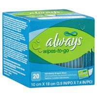 Buy Always feminine individual wipes-to-go of 10 cm X 19 cm, unscented - 20 ea | Lightly scented to help you feel clean and fresh throughout the day. myotcstore.com - Ezy Shopping, Low Prices & Fast Shipping.